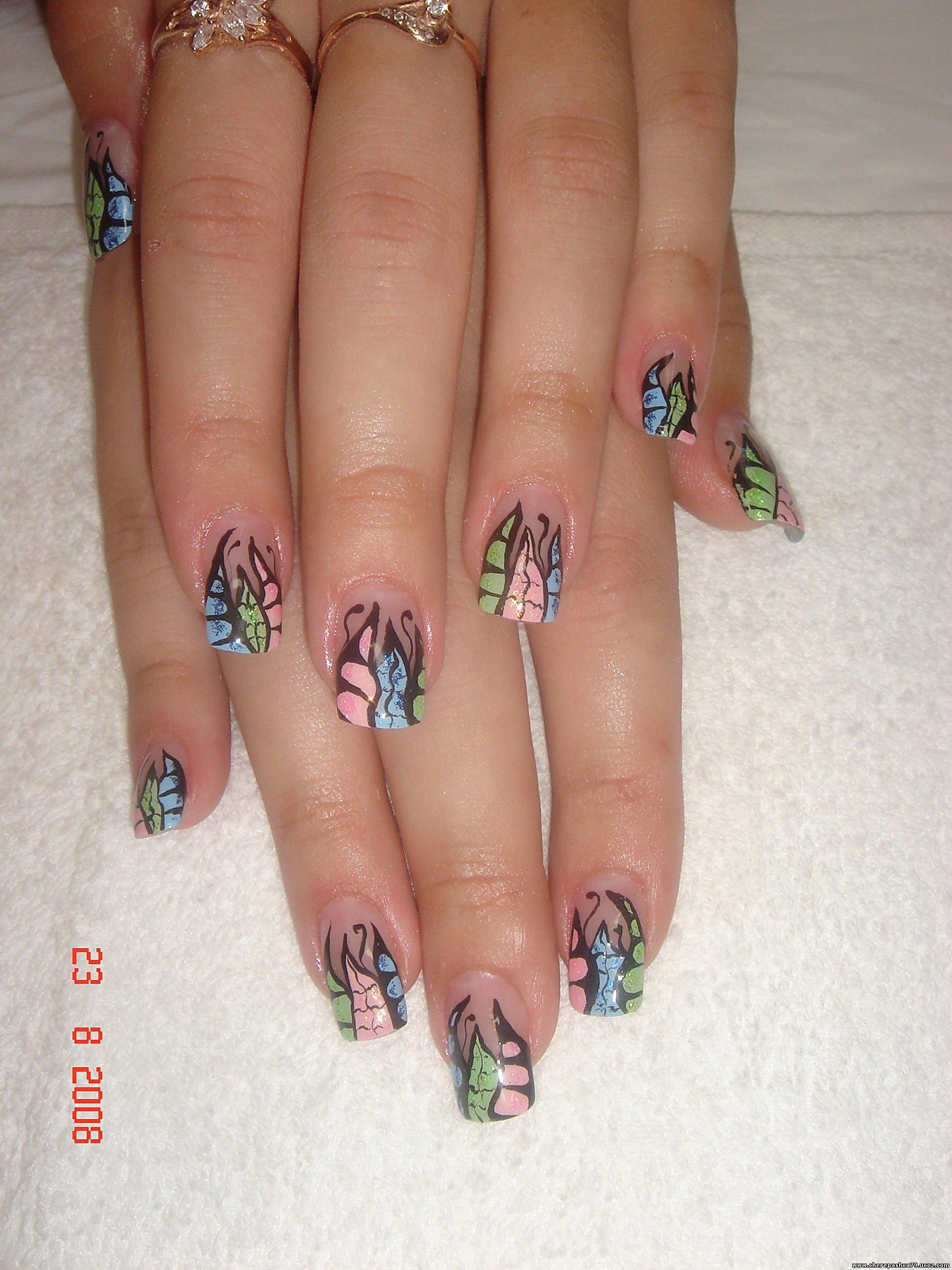 Узоры на акриловых ногтях фото